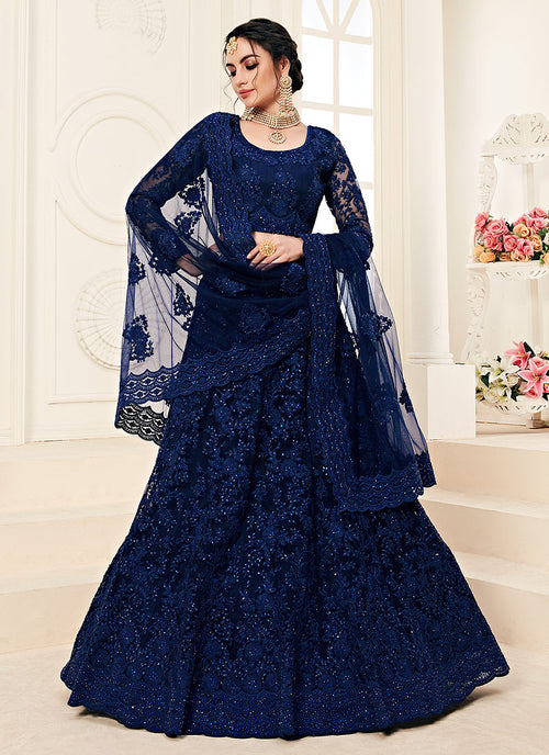 Indian Clothes - Navy Blue Pearl Embroidered Wedding Lehenga Choli