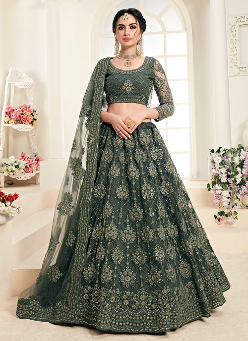 Indian Clothes - Olive Green Pearl Embroidered Wedding Lehenga Choli