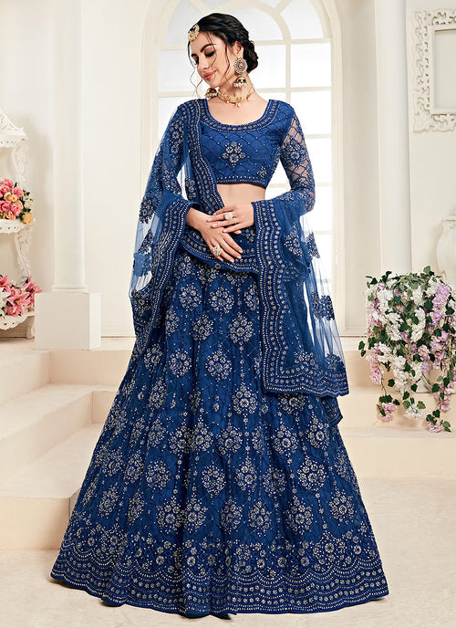 Indian Clothes - Dark Blue Pearl Embroidered Wedding Lehenga Choli