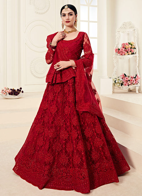 Indian Clothes - Rouge Red Pearl Embroidered Wedding Lehenga Choli