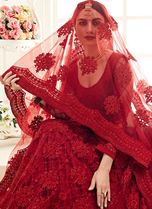 Rouge Red Pearl Embroidered Wedding Lehenga Choli, Lehenga