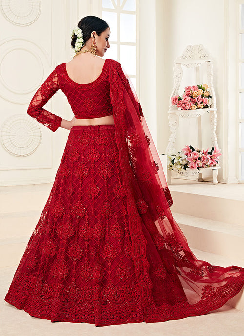 Rouge Red Pearl Embroidered Wedding Lehenga Choli