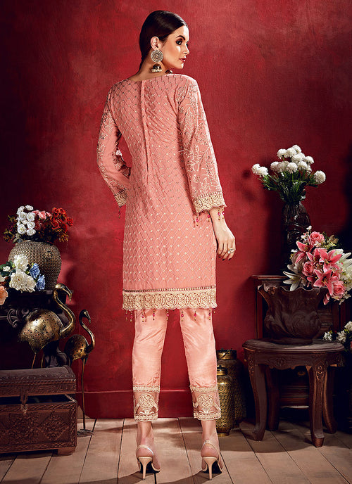 Peach And Red Embroidered Pakistani Pants Suit, Salwar Kameez