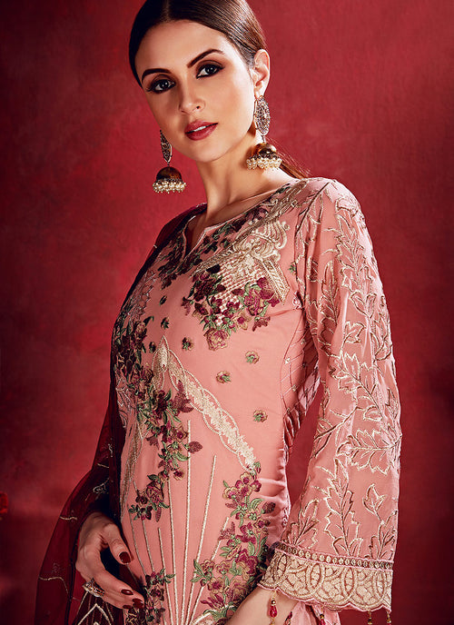 Peach And Red Embroidered Pakistani Pants Suit