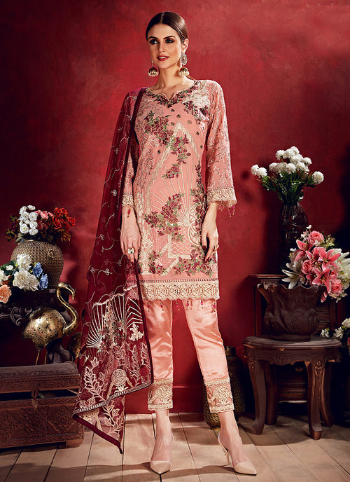 Indian Clothes - Peach And Red Embroidered Pakistani Pants Suit