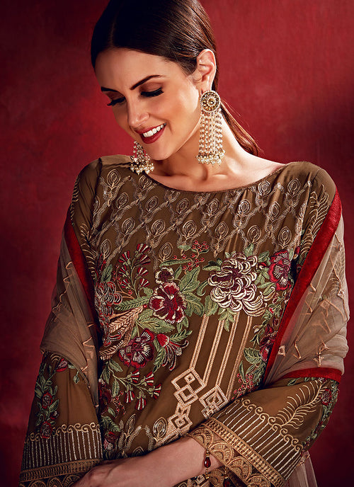 Brown Beige Embroidered Pakistani Pants Suit