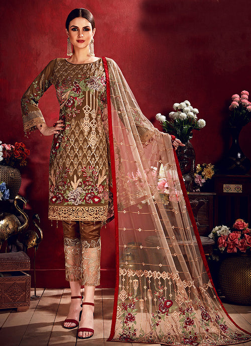 Indian Clothes - Brown Beige Embroidered Pakistani Pants Suit