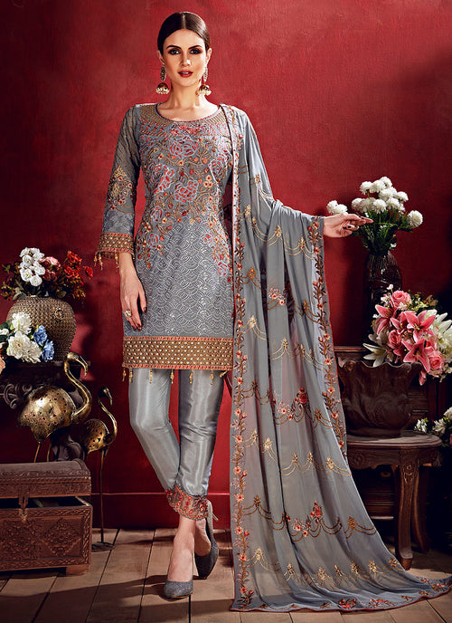 Indian Clothes - Grey Embroidered Pakistani Pants Suit