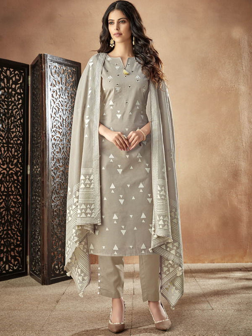 Beige Casual Pakistani Pant Suit