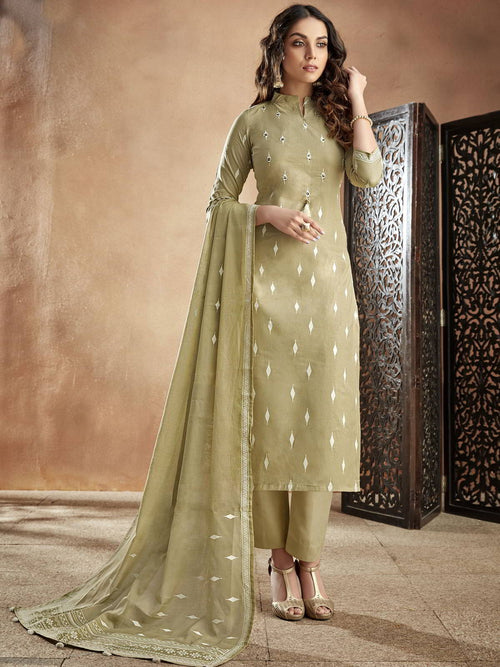 Olive Green Casual Pakistani Pant Suit