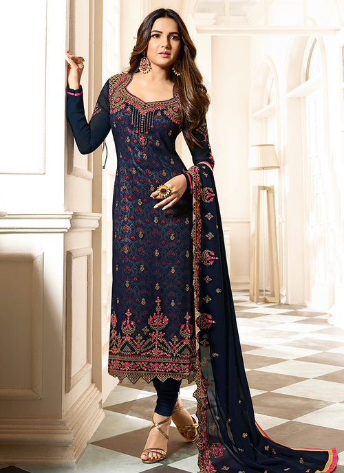 Dark Blue Ethnic Embroidered Pakistani Pant Suit