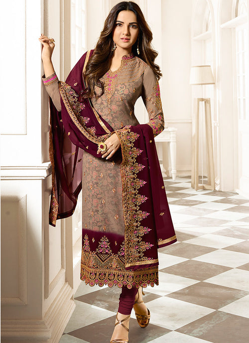 Brown Dual Tone Ethnic Embroidered Pakistani Pant Suit