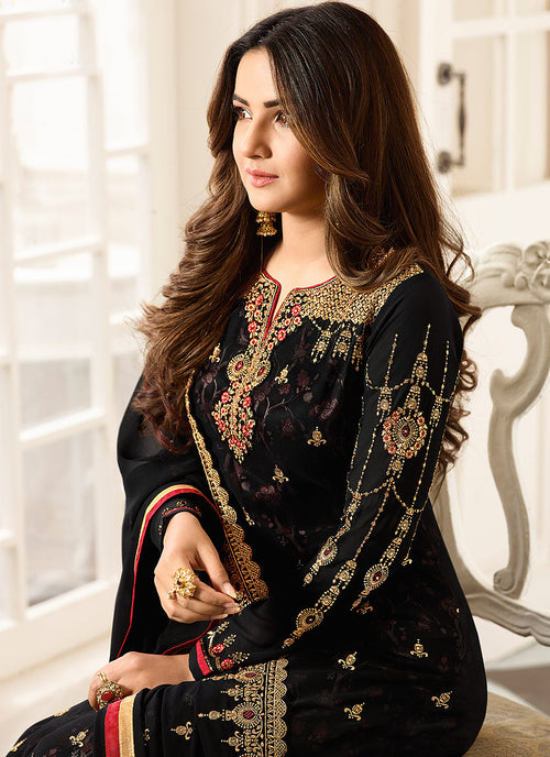Black All Ethnic Embroidered Pakistani Pant Suit