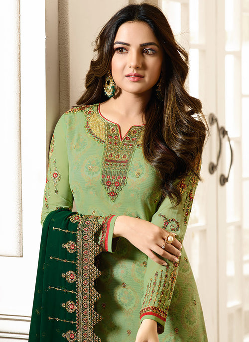 Green Dual Tone Ethnic Embroidered Pakistani Pant Suit