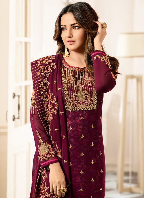 Maroon All Ethnic Embroidered Pakistani Pant Suit
