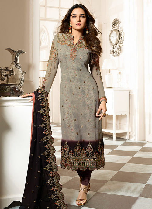 Grey And Marron Ethnic Embroidered Pakistani Pant Suit