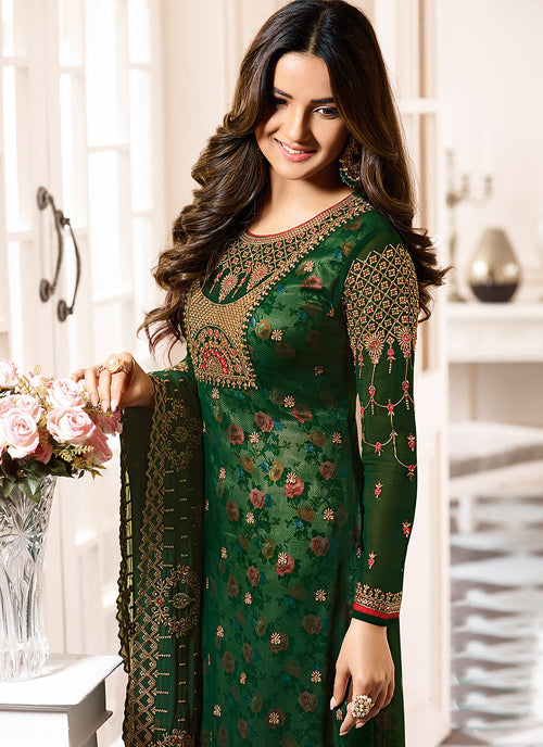 Green All Over Ethnic Embroidered Pakistani Pant Suit