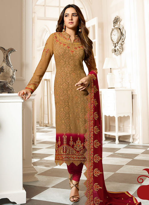 Mustard Yellow And Red Ethnic Embroidered Pakistani Pant Suit