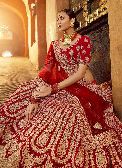 Indian Clothes - Bridal Red And Golden Embroidered Wedding Lehenga Choli