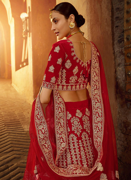 Indian Suits - Bridal Red And Golden Embroidered Wedding Lehenga Choli