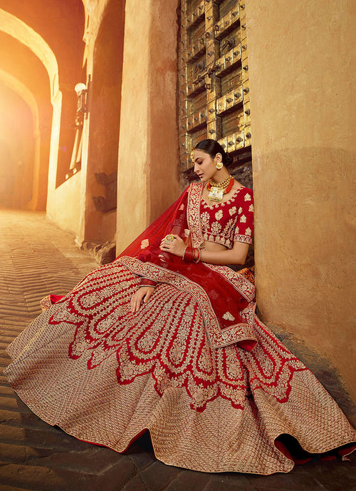 Indian Lehanga - Bridal Red And Golden Lehenga Choli In usa