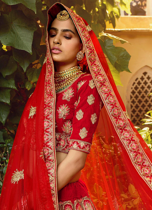 Indian Clothes - Red And Golden Multi Embroidered Wedding Lehenga Choli