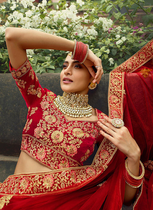 Indian Clothes - Red And Golden Embroidered Wedding Lehenga Choli