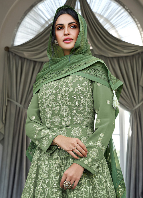 Olive Green Lucknowi Embroidered Anarkali Suit