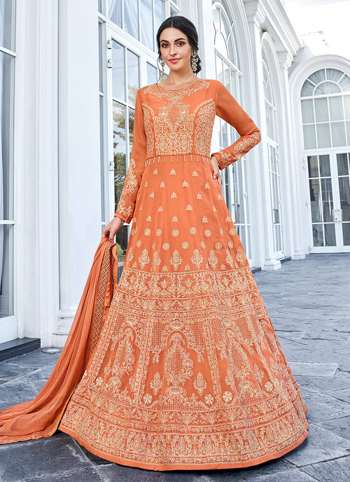 Lucknowi Embroidered Anarkali Suit