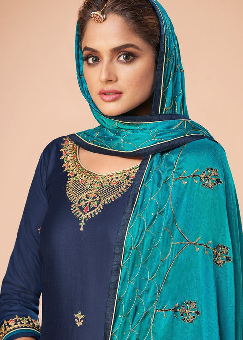 Indian Clothes - Blue And Turquoise Embroidered Salwar Suit In usa uk canada