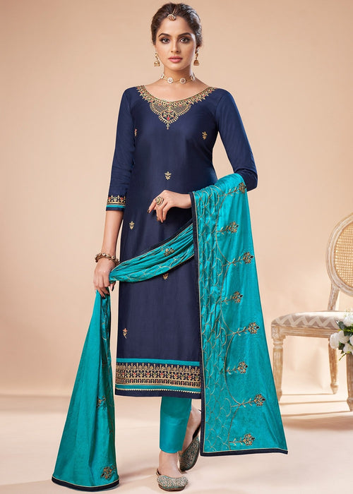 Blue And Turquoise Embroidered Salwar Suit