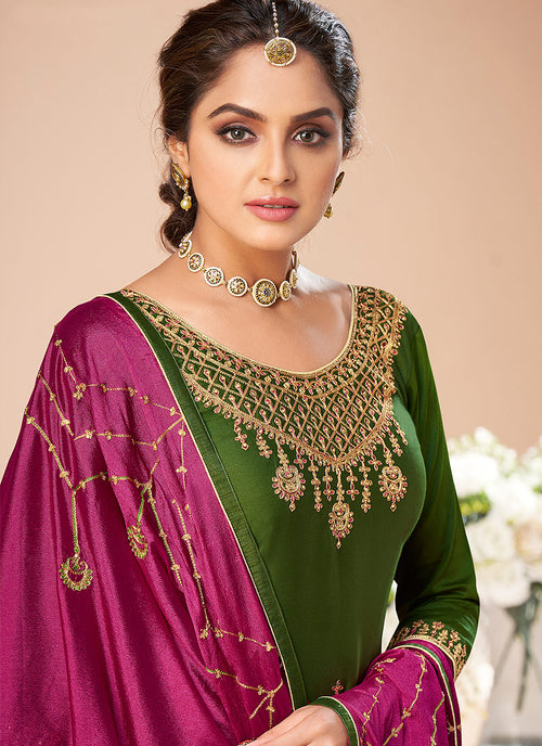 Indian Clothes - Green And Pink Embroidered Salwar Suit