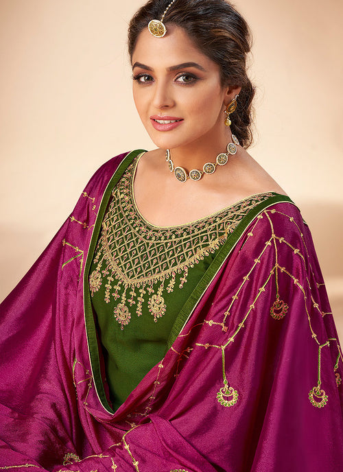 Indian Suits - Green And Pink Embroidered Salwar Suit In usa uk canada