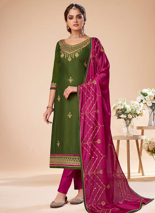 Green And Pink Embroidered Salwar Suit