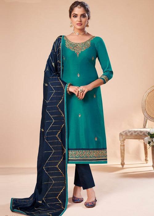Turquoise And Blue Embroidered Salwar Suit