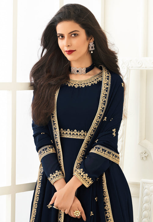 Navy Blue Anarkali Suit In usa uk canada