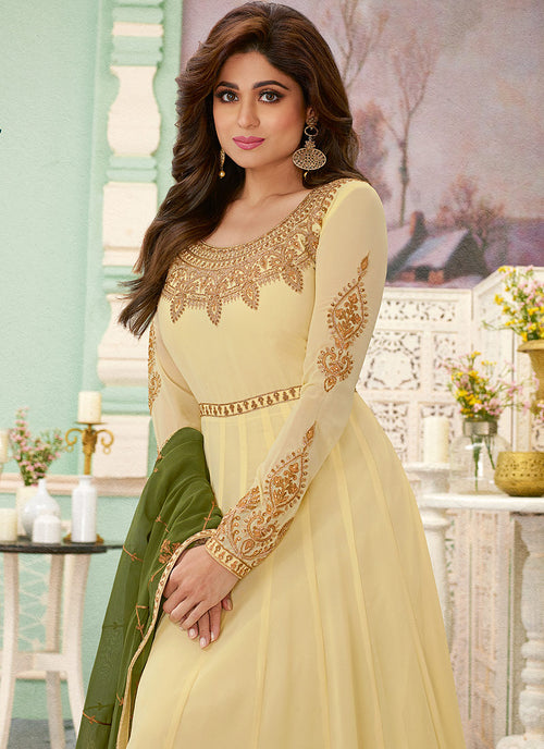 Indian Clothes - Cream And Green Designer Anarkali Suit