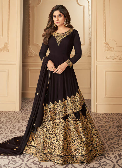 Deep Brown Anarkali Lehenga