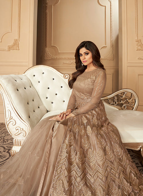 Indian Dresses - Beige Anarkali Lehenga