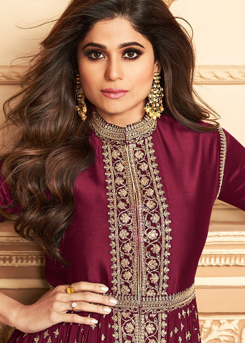 Indian Clothes - Maroon Golden Pants Suit