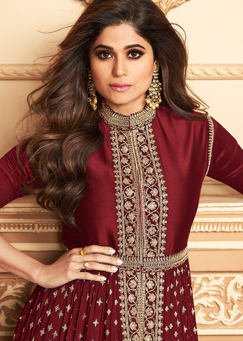 Indian Clothes - Bridal Red Golden Pants Suit