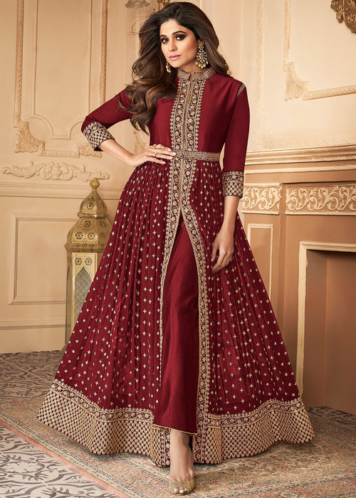 Bridal Red Golden Pants Suit