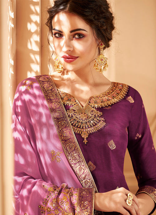 Indian Clothes - Plum Two Tone Jacquard palazzo Suit