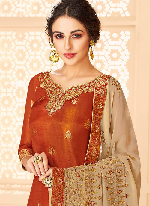 Indian Clothes - Orange And Golden Jacquard Palazzo Suit