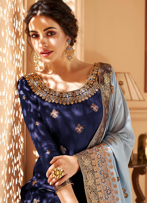 Indian Clothes - Blue Two Tone Jacquard Palazzo Suit