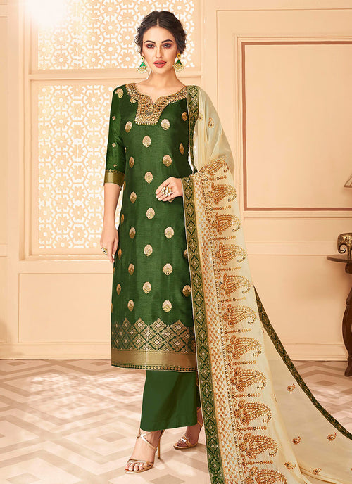 Green Jacquard Palazzo Suit