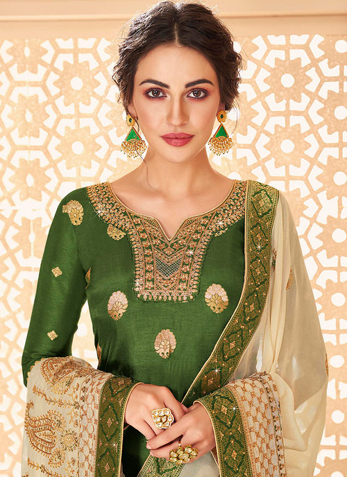Indian Clothes - Green And Golden Jacquard Palazzo Suit