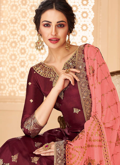 Indian Clothes - Maroon And Peach Jacquard Palazzo Suit