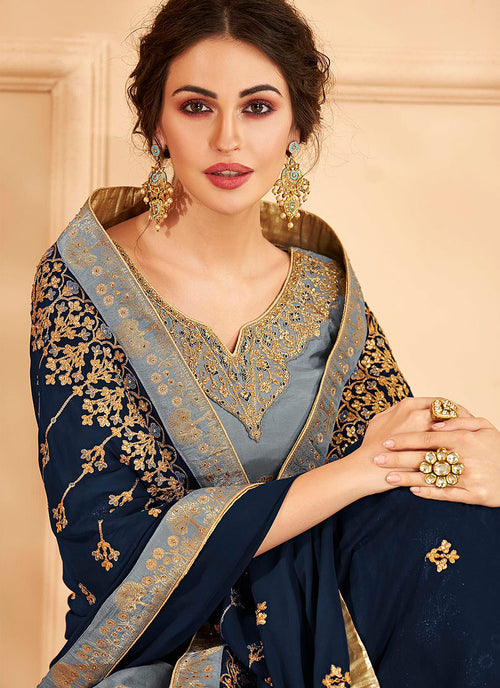 Indian Clothes - Grey And Blue Jacquard Palazzo Suit