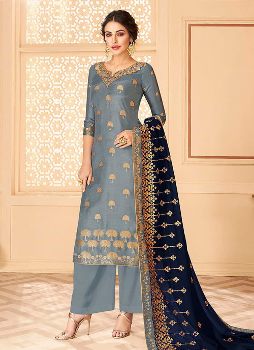 Grey And Blue Jacquard Palazzo Suit